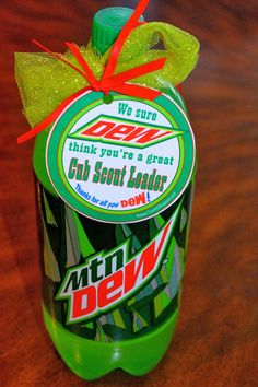 MOUNTAIN DEW Cub Scout Leader PRINTABLE gift. We sure DEW think your a great Cub Scout Leader! This site has a lot of Blue & Gold Ideas, Tracking Sheets & lots of other great Cub Scout Ideas compliments of Akelas Council Cub Scout Leader Training. Utah National Parks Council has planned this exciting 4 1/2 day Cub Scout Leader Training like Woodbadge that covers Cub Scout Info, den doodles, yells, skits, Outdoor Webelos Experience & much more. AkelasCouncil.com