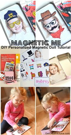 Magnetic Me DIY personalized magnetic doll tutorial - use a photo of your own k. Magnetic Me DIY p Diy For Kids, Gifts For Kids, Magnetic Toys, Diy Magnets, Travel Toys, Busy Bags, Doll Tutorial, Kids Corner, Diy Doll