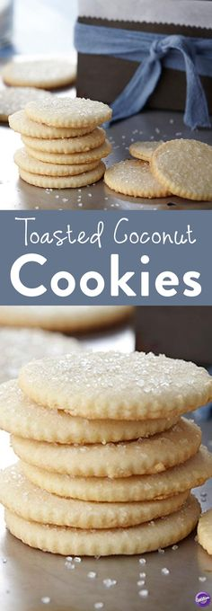 Toasted Coconut Cookies Recipe - Taste the nutty, caramelized flavor when you bite into this warm crisp toasted coconut cookie. As the edges and bottoms of the cookies brown during baking, the caramelized flavor brightens balancing the rich buttery notes of flavor. A pinch of sparkling sugar adds an extra element of crunch. Perfect for snacks or desserts any time of the day.