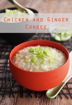Chicken and Ginger Congee.  This can be cooked in a slow cooker for 7-8 his on low.   Shred chicken,  return to pot,  season to taste.  Like chicken and dumplings, only with rice.