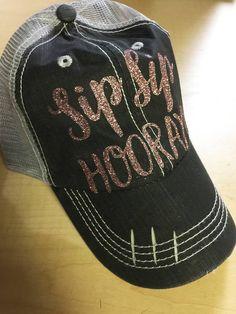 Sip Sip Hooray Rose Gold Glitter Trucker Hat-Wine Hat Sip Sip Hooray 1149d8c683d