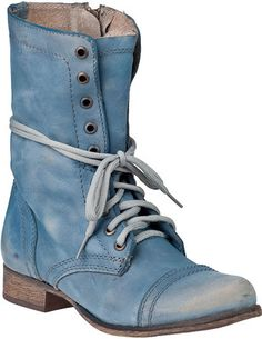 STEVE MADDEN Troopa Combat Boot Blue Leather
