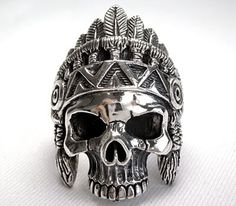 Indian Skull Ethnic Tribal Silver Mens Rings. Carved Indian face sterling silver men's rings. The ring is exquisitely detailed Indian skull face design.