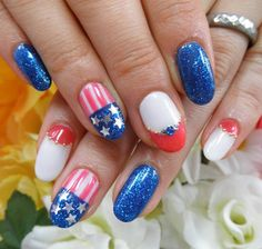 Make some flag-inspired french tips in this sassy design inspired by the Fourth of July. Use a blue glitter nail polish to make it look more appealing.