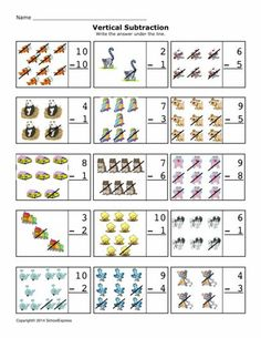Free Math Worksheets, Subtraction Differences 0-10, Vertical - 19,000+ FREE Worksheets
