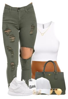 """""""cocaine x olive"""" by missglamfashionz ❤ liked on Polyvore featuring H&M, Dogeared, Prada, Linda Farrow, NIKE and Stella & Dot"""