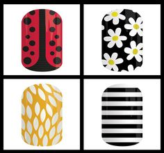 Jamberry Lady in Red , So Daisy, Sunny Lotus, Black and White Stripe - Spring summer 2015 Ambermwalker.jamberrynails.net