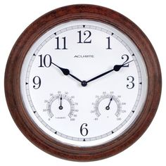 The AcuRite 13-inch Rustic Indoor or Outdoor Clock features built-in temperature and humidity gauges that allow you to check comfort conditions at a glance. Highly accurate quartz movement timekeeping technology. Durable metal, weather resistant construction is suitable for indoor or outdoor use. Rustic frame makes this clock combination the perfect decorative accent. Includes an integrated hang hole for easy wall mounting. One-year limited warranty. It's more than accurate, it's AcuR...