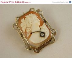 LABOR DAY SALE Antique14k  White Gold Shell Cameo Brooch / Carved Cameo with Diamond Pendant / Genuine Gold and Diamond Cameo
