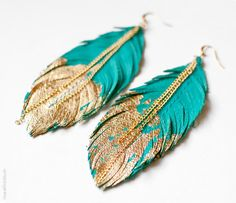 Feather Earrings - Leather Feather Jewelry - Dipped in Gold - Turquoise Leather. $30.00, via Etsy.