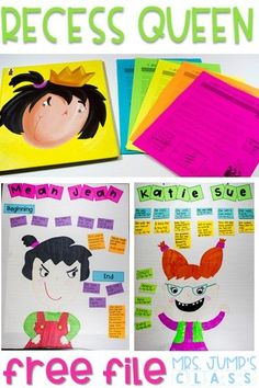 Recess Queen Lesson Ideas for reading comprehension. Crafts, reading responses, and anchor chart to support kindergarten and first-grade students. Art Activity plus a FREE download.