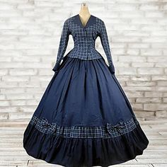 Outfits Classic/Traditional Lolita Lolita Cosplay Lolita Dress Ink Blue Plaid Long Sleeve Floor Length Top / Dress For Women Cotton - AUD $ 114.39