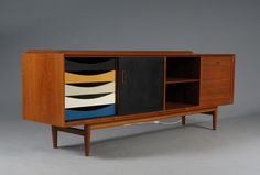 Teak sideboard by Danish architect and designer Arne Vodder (1926 – 2009), a highly influential Scandinavian mid-century designer and student of famed designer Finn Juhl.