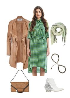 #Dress #Libellulas, #coat #SteffenSchraut, #boots Cinzia Araia, #bag #StellaMcCartney, #scarf Faliero Sarti, #bracelet Inloveni