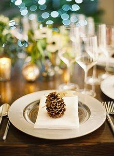 Wedding Ideas: pine-cone-place-setting
