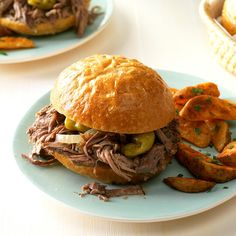 Favorite Italian Beef Sandwiches Recipe -I'm a paramedic/firefighter, and slow-cooked recipes like this one suit my unpredictable schedule. My husband and children and the hungry bunch at the firehouse love these robust sandwiches that have a little zip.