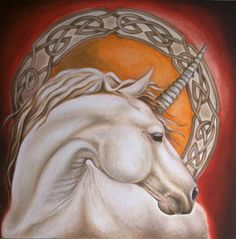 """""""Unicorn and celtic ornament art"""" by Evey Studios: Original oil painting of white Unicorn horse in front of orange red background and very detailed circular celtic ornament.Fantasy artwork,strong and gentle appearance at once. Unicorn Fantasy, Unicorn Horse, White Unicorn, Unicorn Art, Fantasy Dragon, Unicorn Pics, Unicorn Pictures, Animal Pictures, Fantasy Creatures"""