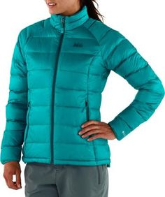 REIs Stratocloud Jacket. Amazing alternative to Patagonias Downsweater for her.