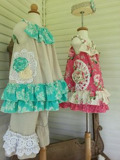 Two vintage tops for one pair of vintage pants. Made by Calamity Jane's Cottage