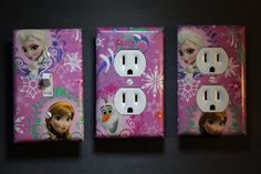 Frozen Anna Elsa 3 pc Set Light Switch Cover Plate room girls home decor socket
