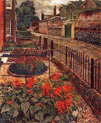 "[Painting] Stanley Spencer ""Gardens in the Pound"" Cookham, Berkshire 1936 Stanley Spencer, Urban Landscape, Landscape Art, Landscape Paintings, Harlem Renaissance, Garden Illustration, Art Uk, Art Deco, Glasgow"