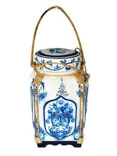 Vintage Tall Rice Bucket Tribal Moroccan Decor Cobalt by studio180