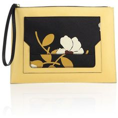 Marni Leather Pochette (8.922.615 IDR) ❤ liked on Polyvore featuring bags, handbags, clutches, apparel & accessories, gold, leather purses, 100 leather handbags, leather handbags, floral purse and leather strap purse
