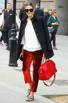 Red velvet trousers outfit