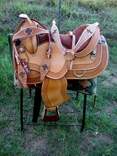 "16"" Western Barrel Show Pleasure LEATHER HORSE SADDLE Bridle Tack Combo50168"