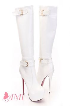 Fall Booties Collection You will be head over heels for these saucy little numbers! They will perfectly compliment any outfit for any occasion! White Knee High Boots, High Heel Boots, Heeled Boots, Cute Boots, Sexy Boots, Sexy Stiefel, Unique Boots, Stripper Heels, Fall Booties