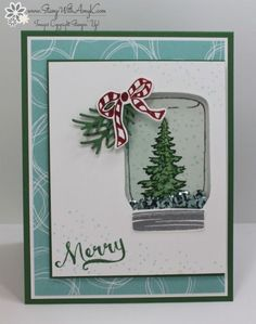 I used the Stampin' Up! Jar of Cheer stamp set to create a fun shaker snow globe card for Christmas. My card design was inspired by Freshly Made Sketches 257. I started by adhering a panel fr…