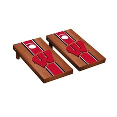 Wisconsin Badgers Cornhole Game Set Rosewood Stained Stripe Version Product Image