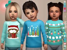 -Some cute winter sweaters for toddlers Found in TSR Category 'Sims 4 Toddler Female'