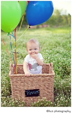 Great idea with balloons and basket