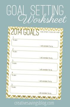 Use this FREE printable goal setting worksheet to plot out your 5 goals for 2014, and actually make it happen!