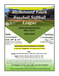 Blythewood Youth Baseball Softball League -- Spring 2018