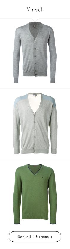 """""""V neck"""" by errecsak on Polyvore featuring men's fashion, men's clothing, men's sweaters, grey, mens cardigan sweater, mens v neck sweater, mens gray sweater, mens vneck sweater, mens v neck cardigan sweater and green"""