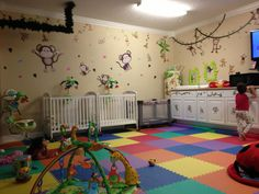 We converted our garage into this beautiful in-home (licensed) daycare infant and toddler room. (Check with your state licensing dept. before leaving your child with any daycare. Home Daycare Rooms, Infant Room Daycare, Daycare Spaces, Childcare Rooms, Infant Classroom, Daycare Setup, Daycare Organization, Daycare Design, Daycare Ideas