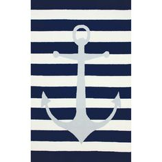 nuLOOM Hand-hooked Novelty Stripe Nautical Anchors Blue Wool Rug (5' x 8') - Overstock™ Shopping - Great Deals on Nuloom 5x8 - 6x9 Rugs