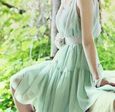 Minty Green Fairy. Soft Feminine Chiffon Mint Sleeveless Dress