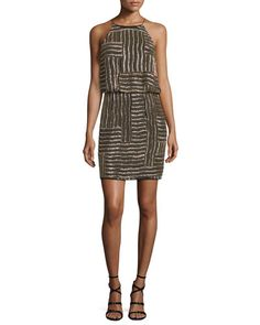 TCG7X Diane von Furstenberg Samala Silk Embroidered Blouson Dress, Black/Gold