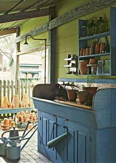 "Old Prim Blue Garden ""Potting Table""...on a back porch."