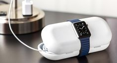 TimePorter for Apple Watch sets the standard for how you carry your essential Watch accessories. This gorgeous capsule is both a case and a stand. TimePorter holds your charging cable, an extra Watch band, your USB charger and more in a neatly designed, silicone-lined case. Pop your charging disc into the integrated opening in TimePorter and drape Apple Watch across the top to charge. With Apple Watch resting on TimePorter, open the case to the preferred angle and TimePorter transforms into…