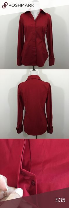 🆕Burgundy Moda Int'l French Cuff Button Up Burgundy Moda International (via Victoria's Secret Catalog) Button Up. Hidden buttons, French cuffs, fitted with a longer hem, and stretchy. In excellent preloved condition. Size S. 96% cotton, 4% spandex. ❌NO TRADES❌NO LOWBALLING ❌NO MODELING ❌ Moda International Tops Button Down Shirts