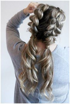 Watch how to do your own jumbo pull through braid pigtails perfect for day to day the gym or date night Check out this beautiful tutorial ponytails braids hairstyles cute. Pigtail Hairstyles, Cool Braid Hairstyles, Hairstyles With Bangs, Trendy Hairstyles, Night Out Hairstyles, Black Hairstyles, Flower Hairstyles, Hairdos, Updos Hairstyle