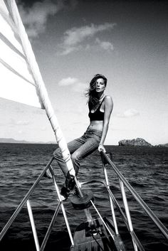 Daria Werbowy in St. Bart's. Alexander Wang bra top, Dior Homme Petite Taille jeans, Giles & Brother cuff. Photo by Cass Bird