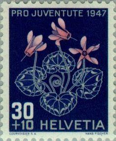 Znaczek: Alpine cyclamen (Cyclamen purpurascens) (Szwajcaria) (Pro Juventute: Alpine flowers, Jacob Burckhardt) Mi:CH 491,Sn:CH B169,Yt:CH 448,AFA:CH 494,Zum:CH J124