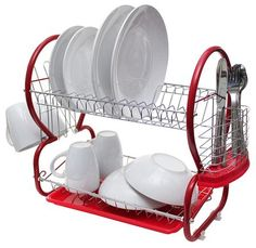 Cook In Colour Dish Rack 40cm, Red