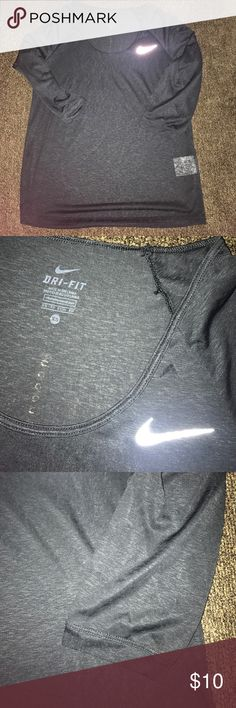 Nike Sheer 3/4 Sleeve Size XS Excellent condition. No snags or stains. Black in color. Super cute and stylish, fits true to size. No trades or Mercari. Price firm unless bundled. No cracking on swoosh. Lowest offer is the price listed. Nike Tops