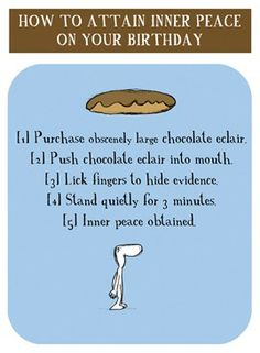 """Harold's Planet """"Inner peace with a chocolate eclair"""" card H0825 from www.maddicott.com"""
